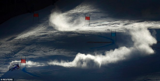 Tessa Worley, of France, is pictured competing in the Women's Giant Slalom at the Pyeongchang Winter Olympics in South Korea in February last year