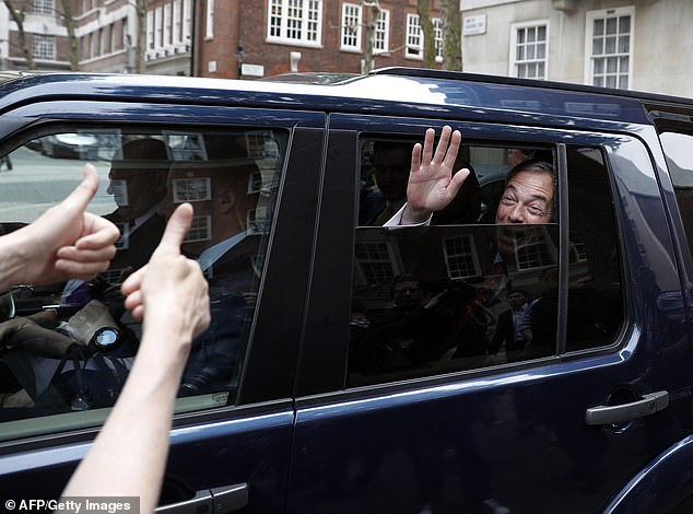Channel 4 News claims that for the year after the EU referendum Mr Banks, through his companies, organised and funded multiple visits to the United States for Mr Farage (pictured in June 2016)
