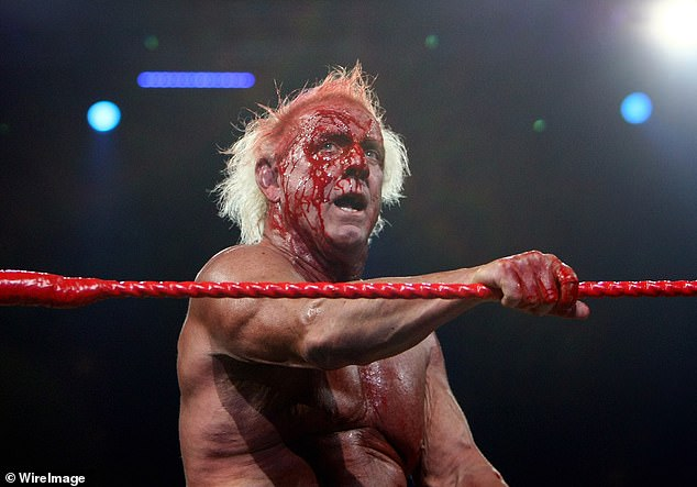 Ric Flair (pictured) competes against Hulk Hogan during the 'Hulkamania Tour' at Acer Arena on November 28, 2009 in Sydney, Australia. Flair was 60 at the time of the event