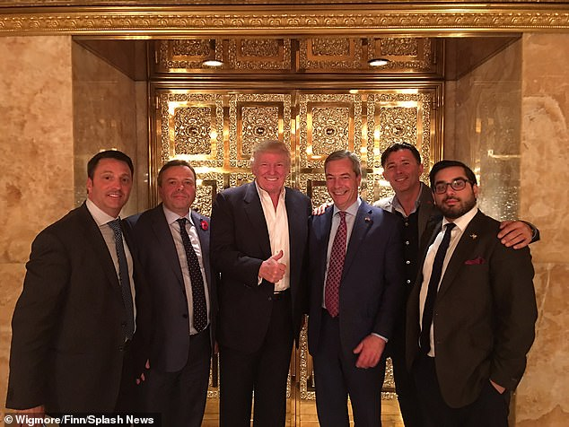 (Left to right) Gerry Gunster, Arron Banks, Donald Trump, Nigel Farage, Andy Wigmore, Raheem Kassam. Nigel Farage was the first British politician to meet President Elect Donald Trump at the Trump Tower in front of the gold lift in 2016