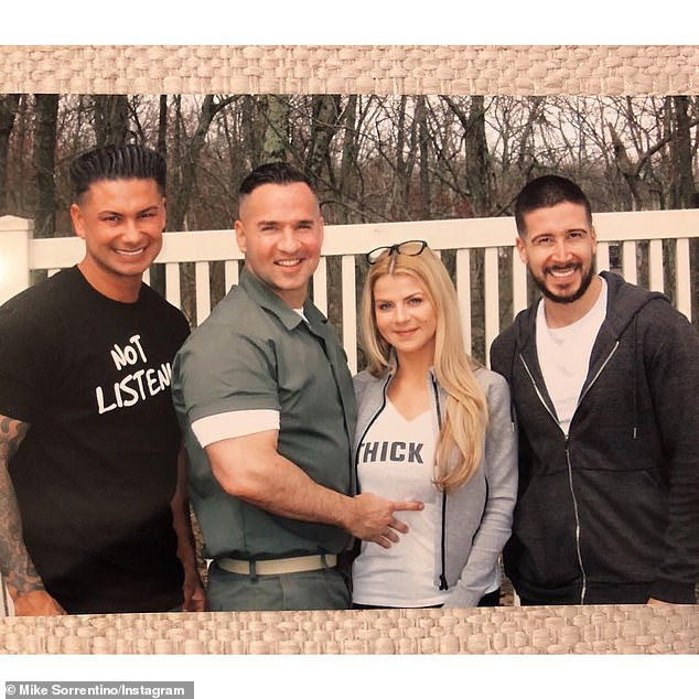 His bros: This is not the first time a Jersey Shore cast member has swung by his prison. Last week Sorrentino was visited by Pauly D and Vinny Guadagnino. The group was seen posing in front of a white fence