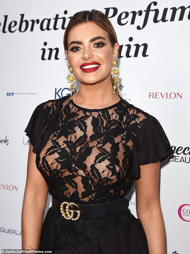 Racy lacy: Megan Barton Hanson stepped out at the Fragrance Foundation Awards 2019 in London, in a very revealing number on Thursday