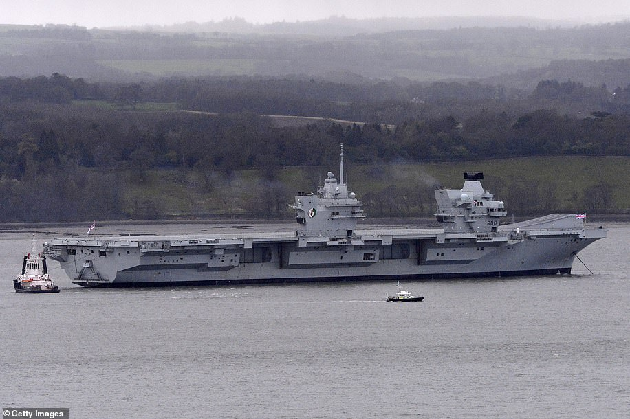 HMS Queen Elizabeth was seen gliding under the Forth Bridge as she prepared to dock last month.  The ship will now have to wait for the right tidal and weather conditions to manoeuvre safely through the lock into Rosyth Dockyard