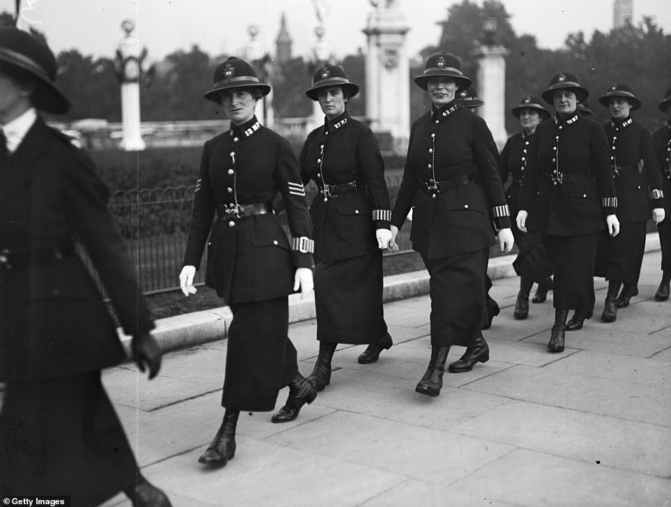 Campaigns for women to be accepted into the police force began in 1910 when Edith Tancred and Dorothy Peto began insisting on the need for female police officers. Pictured are members of the Women's Police Force arriving at Buckingham Palace to attend a party for war workers in July 1919