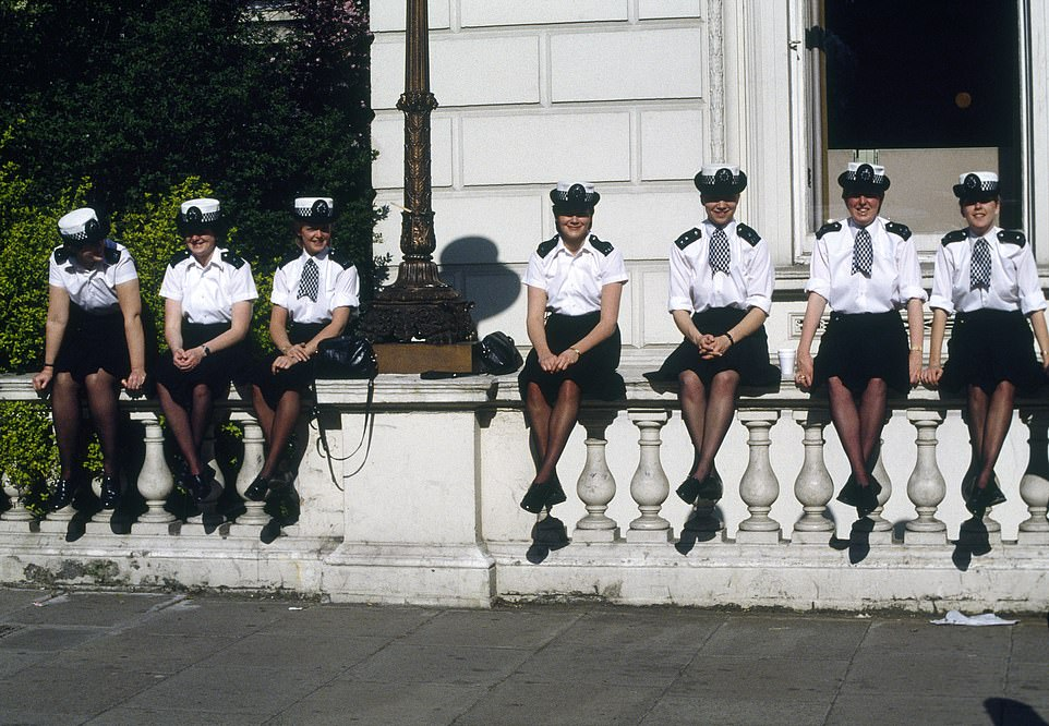 However, by 1923, some 50 female officers were re-sworn, this time with full powers of arrest. By the time the Second World War started in 1939 over 100 policewomen had been sworn in. Pictured are Met policewomen during a break in duties near the Libyan Embassy in St James's Square during the 11-day seige after WPC Yvonne Fletcher was fatally shot while on duty during a protest demo against Colonel Gadaffi in 1984