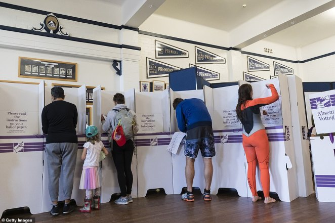 Voters at the Bondi Surf Life Saving Club, in the seat of Wentworth, with a tight battle between incumbent Prime Minister Scott Morrison of the Coalition party and Labor Leader, Bill Shorten