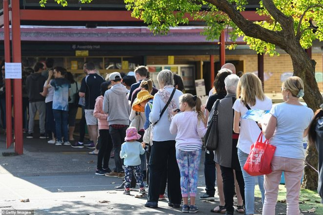 Members of the public stand in line to vote at Neutral Bay Public School on May 18, 2019 in Sydney, Australia