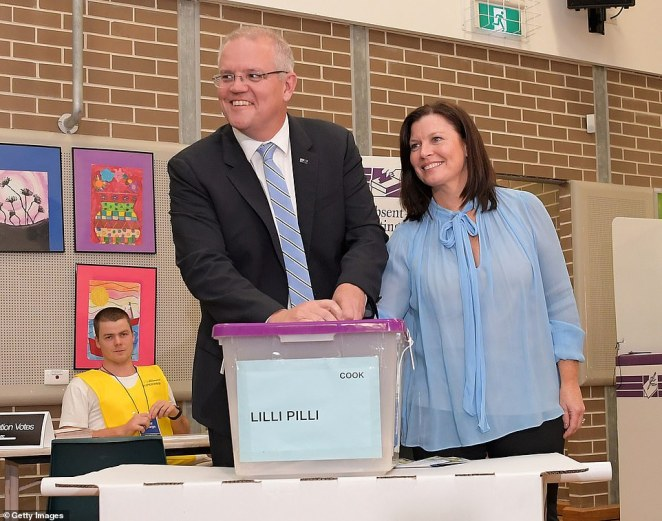 Prime Minister Scott Morrison and his wife Jenny Morrison cast their votes at Lilli Pilli Public School in Cook, Sydney