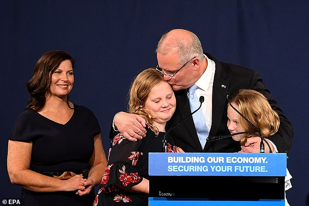 Steggall also congratulated Mr Morrison (pictured alongside his wife Jenny and two daughters) on his victory and described him as a 'one-man band' with 'one message' about the economy