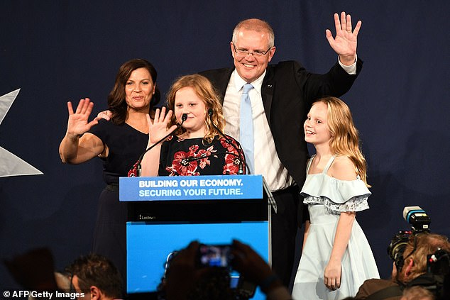 Ms Steggall, 45, vowed to be a 'climate leader' and said she looked forward to discussing the issue with the newly elected Mr Morrison (pictured alongside his wife Jenny and two daughters)