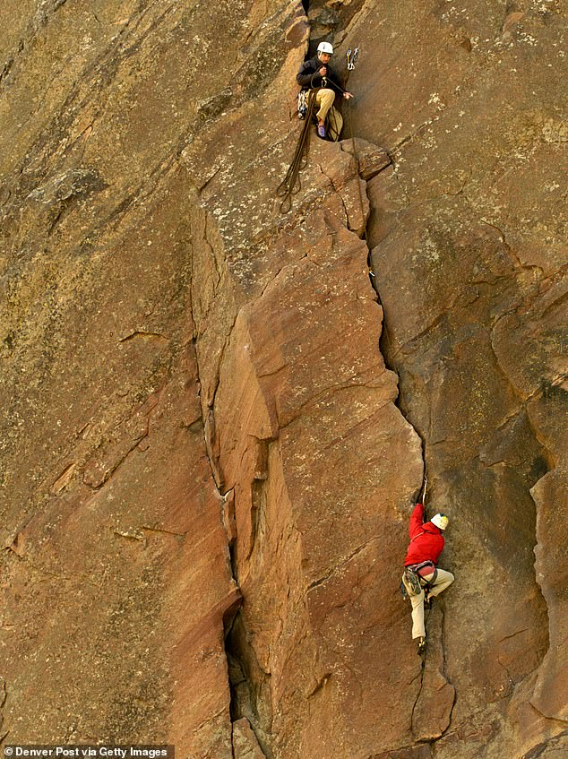 Witnesses said the unidentified man was scaling a popular cliff face known as Bastille Crack (file image) when the incident occurred Saturday night. The Bastille Crack has a pitch difficulty rating of 5.7 out of 6, according to several rock climbing websites