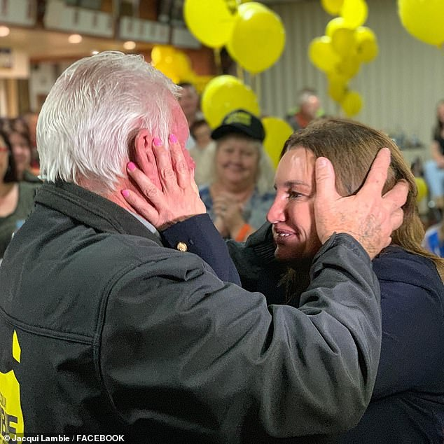 The victory was especially emotional for Ms Lambie and her father. She had to quit the Senate because her dad was born in Scotland and she was entitled to British citizenship