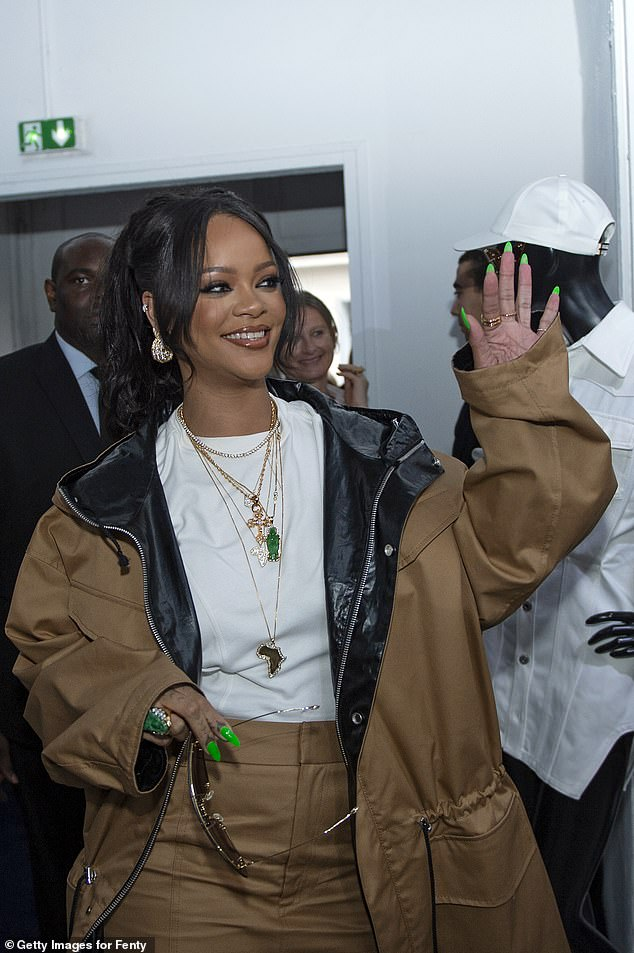 Great reception: Rihanna waved to fans as she made her entrance
