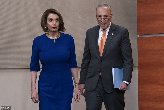 The war of words began when President Trump left Wednesday's meeting at the White House with President Nancy Pelosi and Senate Democratic Leader Chuck Schumer (photo).