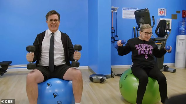 Ruth Bader Ginsburg (right) and Stephen Colbert, (left) work out on his show. Ginsburg became known as the ¿Notorious RBG¿ during her 80s and captured the public's imagination
