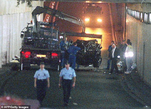 The couple believe Princess Diana's death was not an accident after witnessing the aftermath of the crash (pictured)