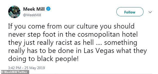 Not holding back: The rapper took to social media to accuse the casino of racially profiling him