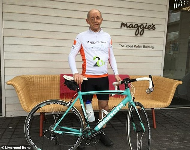 Despite being placed on palliative care, Mr Heward has just begun a 1,000-mile bike ride to raise money for the Maggie centres. He changed his lifestyle habits so that he could extend his life as long as possible. Pictured recently