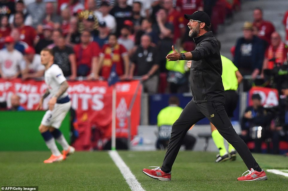 Liverpool manager Jurgen Klopp steps out of his technical area to protest a decision made by the referee in the first half