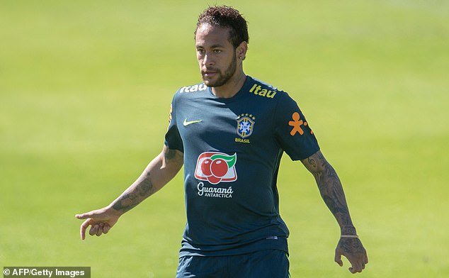 Sao Paulo state's Public Security Secretariat, which oversees police, confirmed in a statement that a complaint was registered, but did not offer details. Pictured: Neymartakes part in a training session of the national team