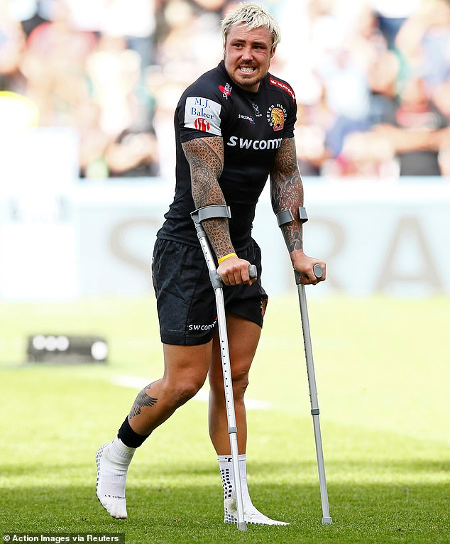 England winger Jack Nowell ended the game on crutches after injuring his knee and ankle