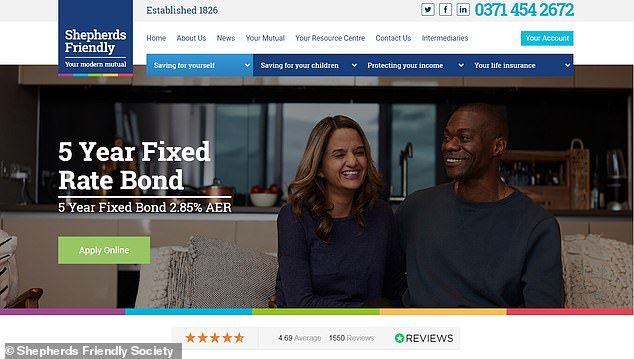 Shepherds Friendly Society advertises a 5-year fixed-rate bond, which it advertised to This is Money as the 'highest interest rate on the market for a 5-year fixed-rate savings bond'
