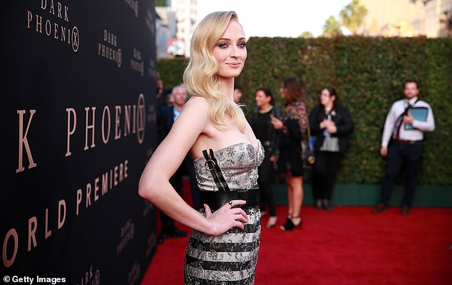 Blonde beauty: She is best known for rocking fiery red tresses in Game Of Thrones and the X-Men films, Sophie stuck closer to her natural color with Veronica Lake-style wavy locks