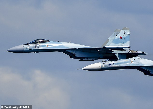 A Russian fighter jet intercepted a US aircraft over international airspace over the Mediterranean Sea on Wednesday (pictured Russian SU-35's in a file image)