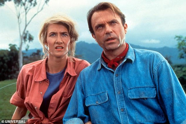 Back for more? Jurassic Park saw Neill and Dern playing paleontologist Dr Alan Grant and paleobotanist Dr Ellie Sattler respectively, who were invited to 'road test' John Hammond's [Richard Attenborough] theme park, in which he had revived dinosaurs
