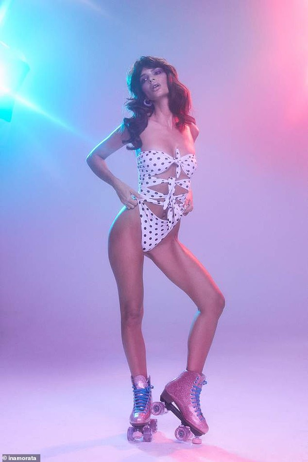 Exquisite: Emily Ratajkowski brought back the 1970s in a sizzling new Instagram photo-shoot plugging her line Inamorata Swim