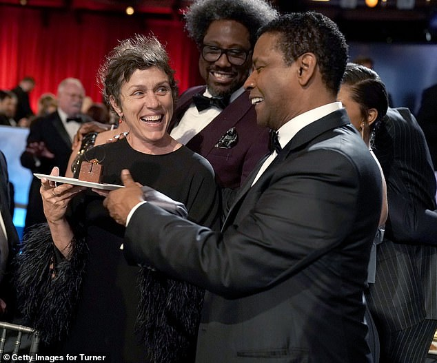 Star-studded: Frances McDormand smiled from ear to ear at the event