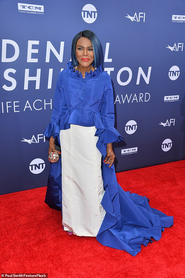 Simply stylish: Cicely Tyson wowed in a flowing blue frock with a coordinating tint in her hair