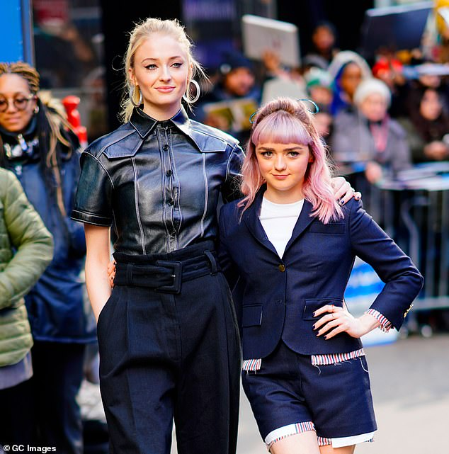 Side by side:Sophie Turner and Maisie Williams would jokingly 'try and kiss each other in the middle of the scene' while filming Game Of Thrones