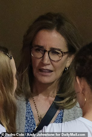 Felicity Huffman mingles with guests before the ceremony for her daughter in California
