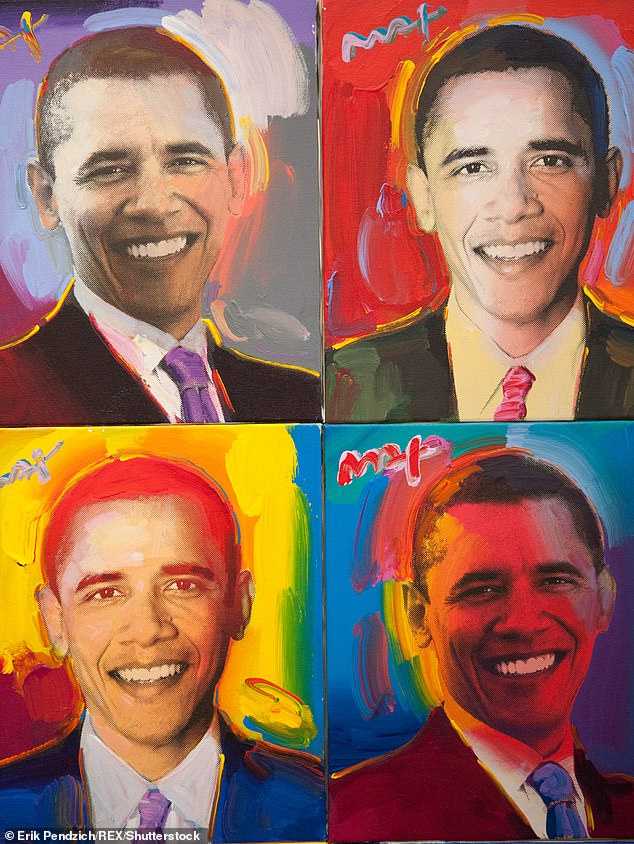 Peter famously painted world leaders, including Barack Obama (pictured), and even presented art to Bill Clinton