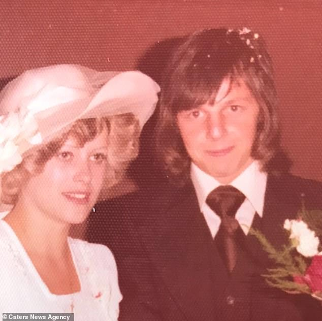 Mrs Morgan is pictured with her husband on their wedding day