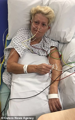 Mrs Morgan is pictured in hospital