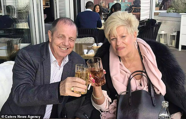 Mrs Morgan said the six days between her tonsillitis diagnosis on January 19 and her surgery on the 25th cost her 'crucial time' (pictured with Dave after her stroke)
