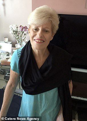 Mrs Morgan is pictured in recovery, after her lengthy hospital stay