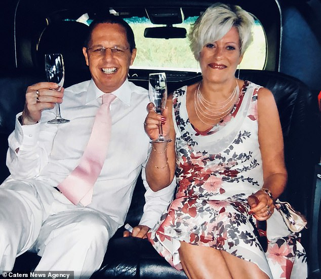 She was told she had tonsillitis after they spotted a white lump on her tonsil (pictured with husband Dave on their wedding anniversary before her stroke)