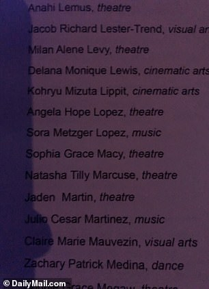 The Hollywood A-listers' daughter was listed in the program as Sophia Grace Macy