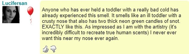 In reviews of the perfume, customers have described the smell like 'an ill toddler' (pictured)