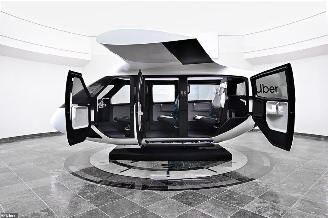 Uber is taking the wraps off of its futuristic air taxis for the first time. The firm gave the public a look at the inside of its flying taxi that's expected to ferry up to four passengers as part of the long-awaited airborne taxi service, dubbed 'Uber Air'