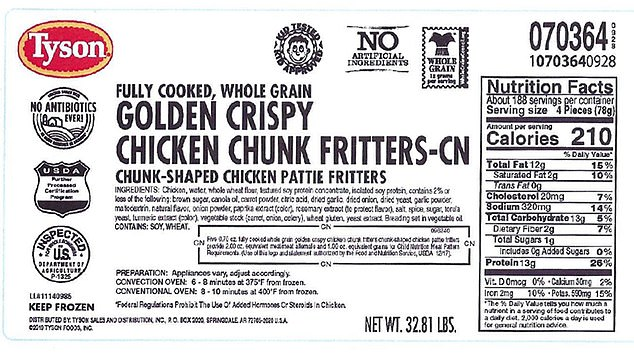 Tyson Foods, Inc has recalled more than 190,000 pounds of fully cooked, chicken fritters after three schools complained of finding 'clear plastic and soft gray plastic' in the product.