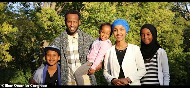 Ilhan Omar with her family as seen on her campaign website. The man pictured is Ahmed Abdisalan Hirsi, whom she identifies as her husband