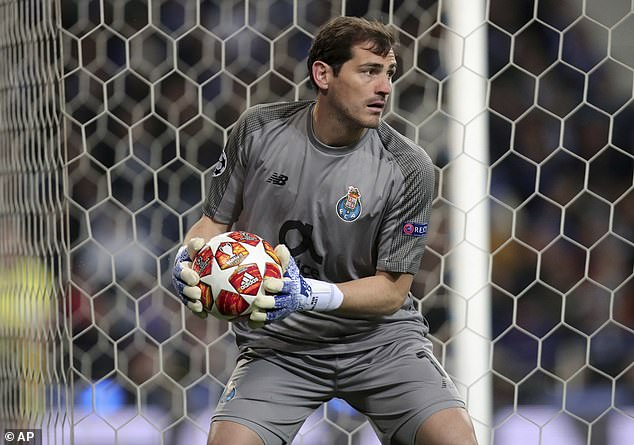 Casillas, pictured in action in April, helped Porto reach the Champions League quarter-finals