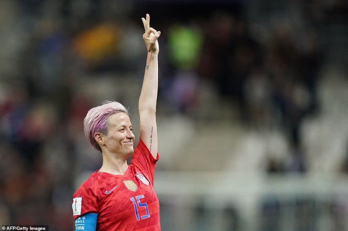 Rapinoe celebrates after winning the France 2019 Women's World Cup Group. F match between the USA and Thailand