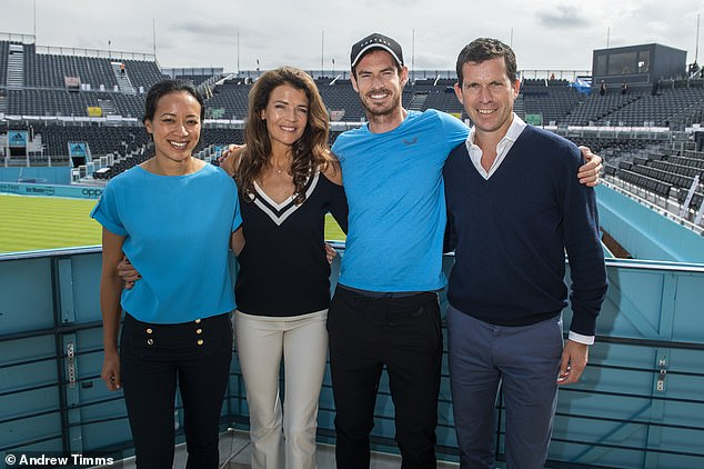 Murray, Tim Henman (R), Annabel Croft and Anne Keothavong (L) announced the Prime Video Future Talent Award on Wednesday