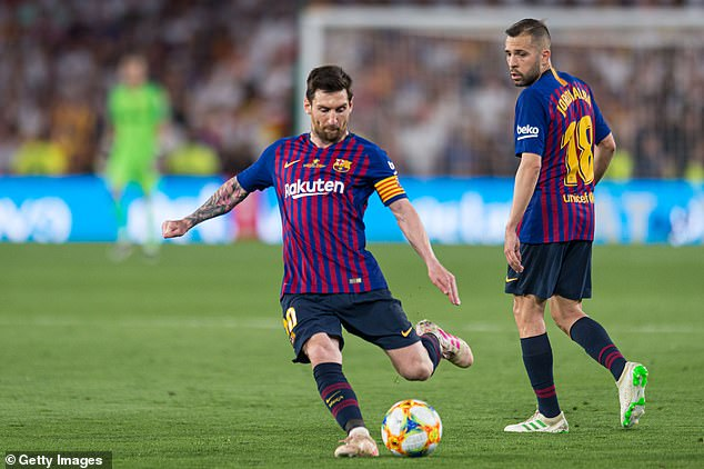 De Ligt admitted that it would be 'nice' to play with Lionel Messi (left) at Barcelona