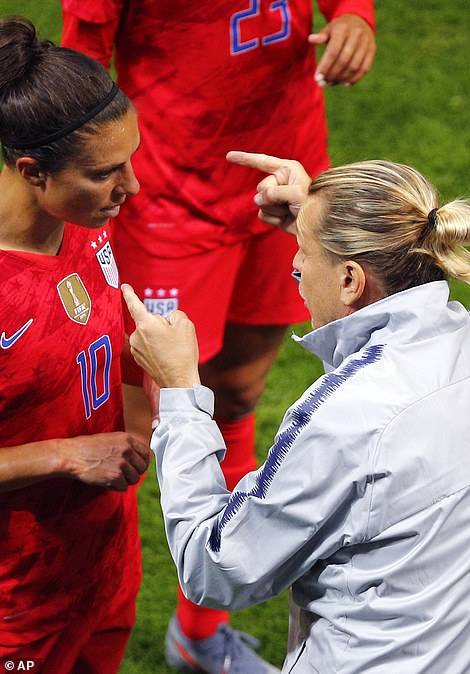 USA coach Jill Ellis is seen above during the Women's World Cup 2019 match between USA and Thailand